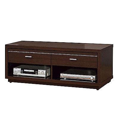 品家居 塔莉4尺胡桃木紋二抽長櫃/電視櫃-121x45x45cm免組