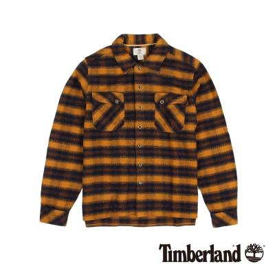 Timberland 男款藍橘色絨面粗條紋長袖襯衫