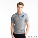 GIORDANO 男裝拿破崙刺繡彈性POLO衫 - 78 雪花中灰