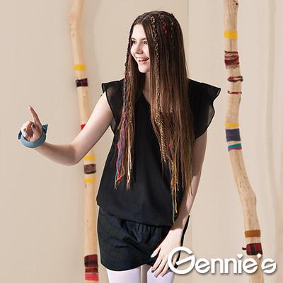 【Gennie's奇妮】簡約個性縮腰羊毛秋冬孕婦上衣-黑(G3401)