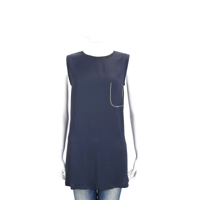 FABIANA FILIPPI 藍色珠飾棉質長版無袖上衣