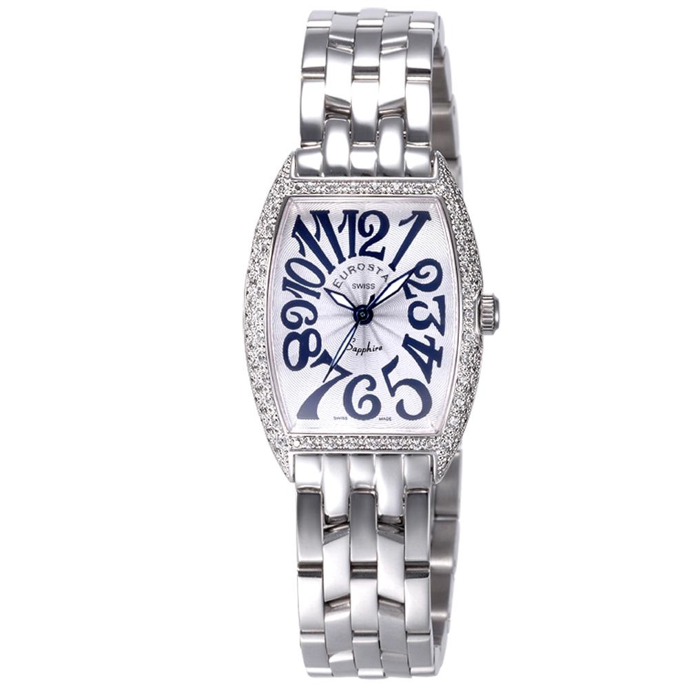 EUROSTAR 優雅知性字體晶鑽時尚錶-銀/25mm