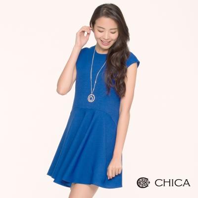 CHICA 浪漫波浪襬渾厚布料無袖洋裝(2色)