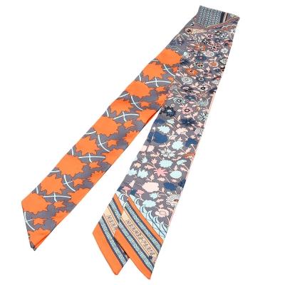 HERMES Tapis Persans繽紛花朵Twilly幾何絲巾領結(橘X松石綠-一組