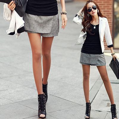 正韓 拼接層次遮片造型短褲裙 (深灰色)-N.C21