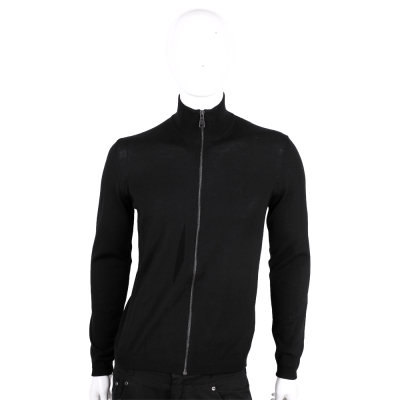 PRADA 黑色羊毛拉鍊針織外套(男款/100%LANA VERGINE)