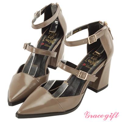 Grace gift X Kerina妞妞-後拉鍊雙帶設計感跟鞋 灰