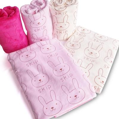 加厚超細超吸水棉柔兔子印花浴巾2條