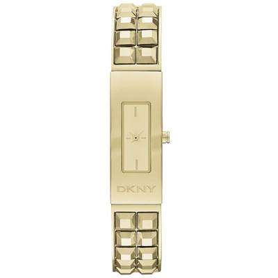 DKNY 前衛姿態錐形鉚釘時尚腕錶-金/13mm
