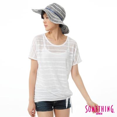 SOMETHING-T恤-輕透橫條2件式燒花造型T-女-白色