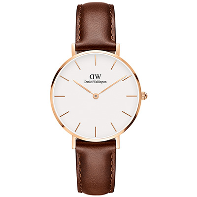 DW Daniel Wellington 經典聖莫斯棕色皮帶腕錶-金框/32mm