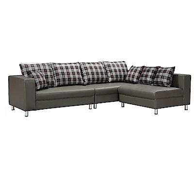 品家居 莉卡透氣皮革L型沙發(四人+凳)-264x182x80-免組