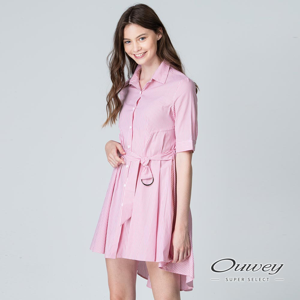 OUWEY歐薇 甜美條紋膠印綁帶洋裝(綠/粉)