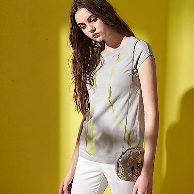 氣質線條印花羅紋圓領針織短袖造型上衣(兩色)-灰