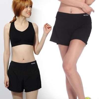 運動褲 防走光舒適透氣內襯瑜珈慢跑運動褲-個性黑 LOTUS