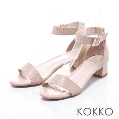 KOKKO真皮手工法式優雅一字繫帶粗跟涼鞋裸膚