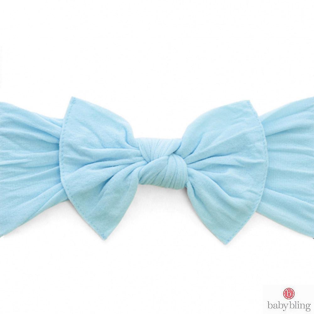 Baby Bling 大蝴蝶結寬版寶寶髮帶髮飾 - 水藍