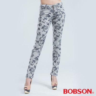 BOBSON 印花彈性直筒褲 -灰色