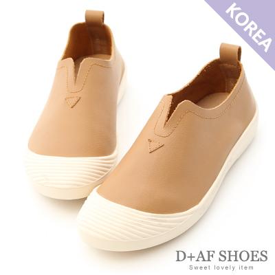 D+AF 自在穿搭.超軟牛皮U口懶人鞋*棕