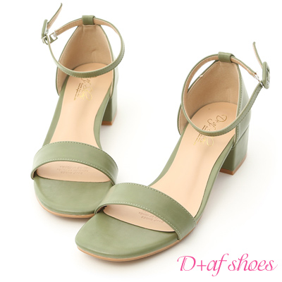 D+AF 完美夏日.一字繫踝方頭低跟涼鞋*綠