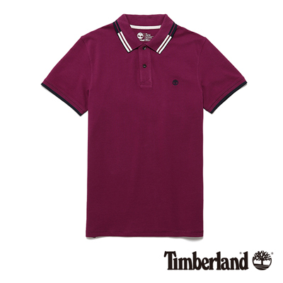 Timberland-男款紫色雙色翻領短袖Polo衫