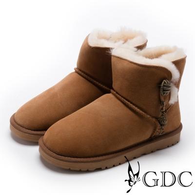 GDC-溫暖毛滾邊銅釦飾牛皮雪靴-駝色
