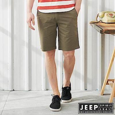 JEEP 反摺造型素面休閒短褲-橄欖綠