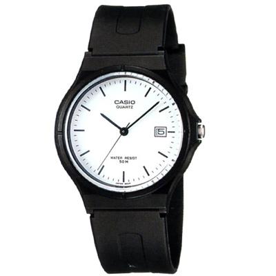 CASIO 超輕薄感時尚指針錶(:MW-59-7E)-白底釘字