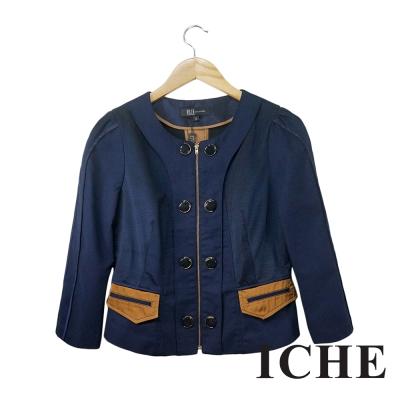 ICHE衣哲 雙排釦拉鍊拼接挺版造型外套