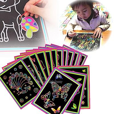 兒童 炫彩 卡通DIY刮刮畫 多款隨機10入(附竹籤刮筆)-kiret