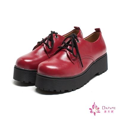 達芙妮DAPHNE-青春學院復古厚底綁帶休閒鞋-學院紅
