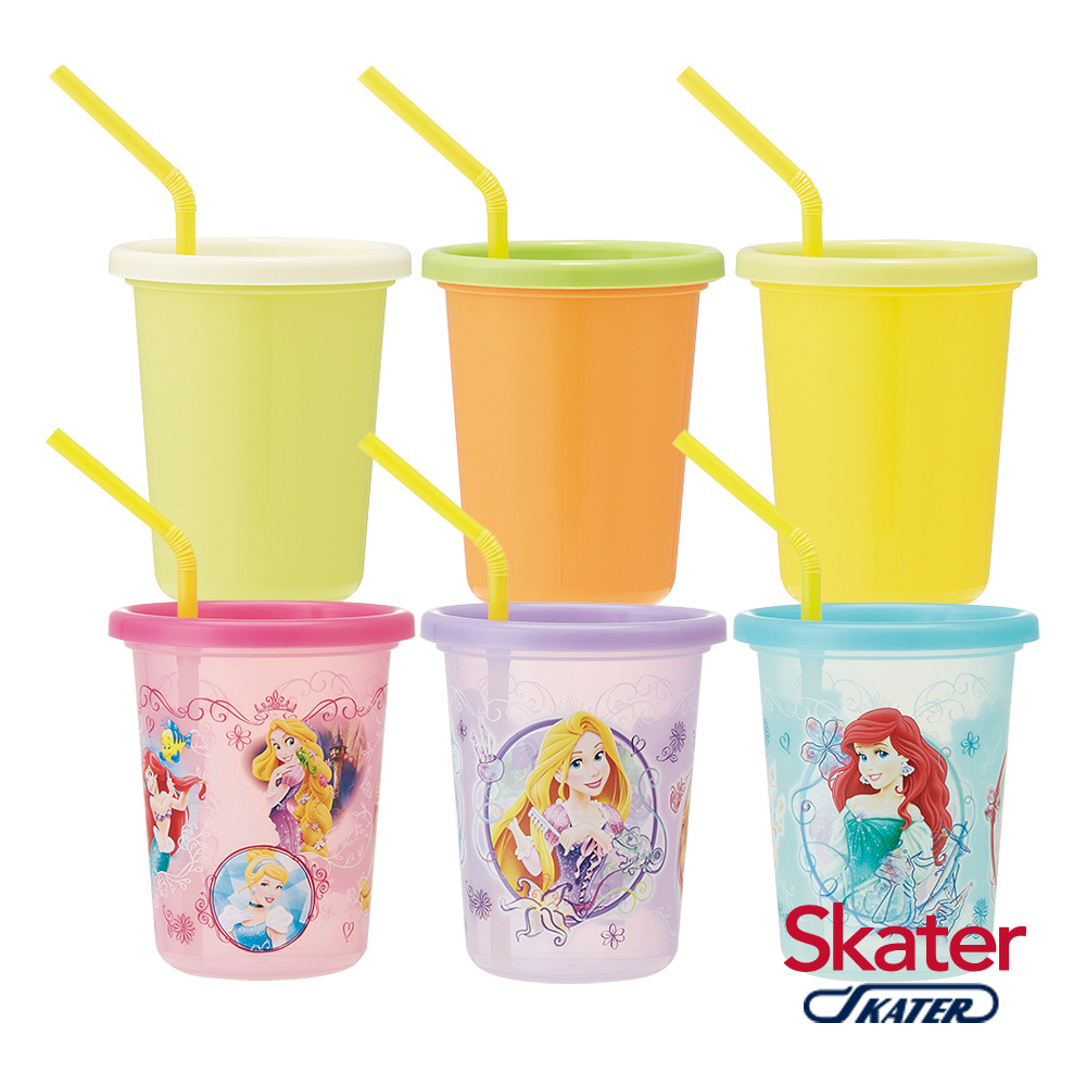 Skater日本製3入水杯(320ml)迪士尼公主+Color
