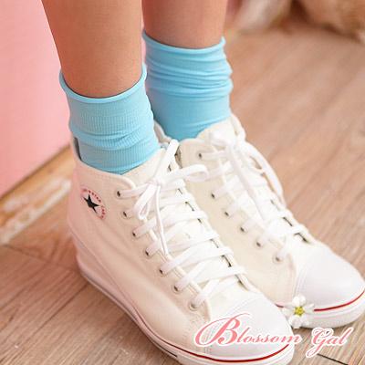 Blossom Gal韓製馬卡龍多彩直紋糖果襪2入組水藍