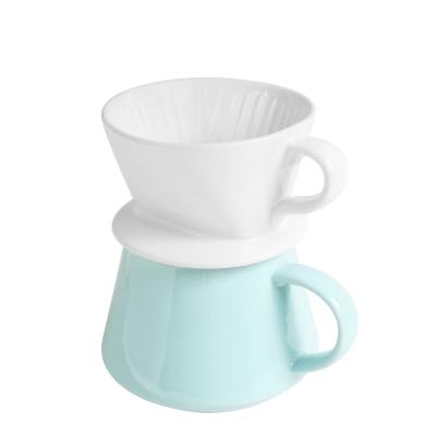 FUSHIMA富島 Tlar陶瓷職人濾杯+陶瓷杯優雅組(白濾杯+藍陶瓷杯)