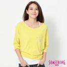SOMETHING 亮眼個性寬版T恤-女-黃色