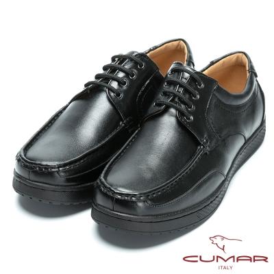 CUMAR 舒適真皮 超輕休閒綁帶式皮鞋-黑色