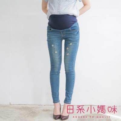 日系小媽咪孕婦裝-孕婦褲-潑漆刷破牛仔長褲-S-X