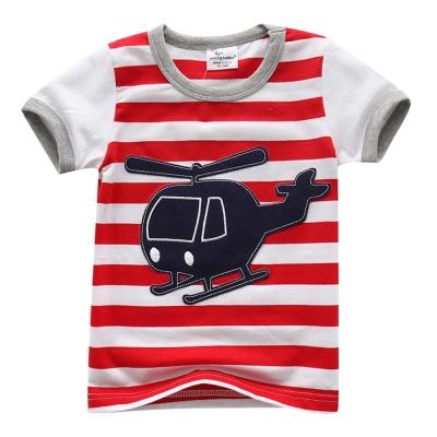 上衣 男童 條紋直升機 歐美經典兒童純棉短袖T恤