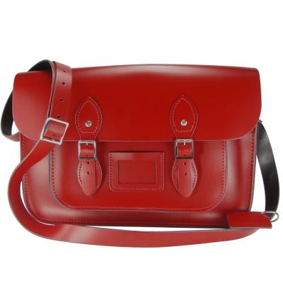 The Leather Satchel 英國手工牛皮劍橋包 肩背 側背包 心機紅 14吋