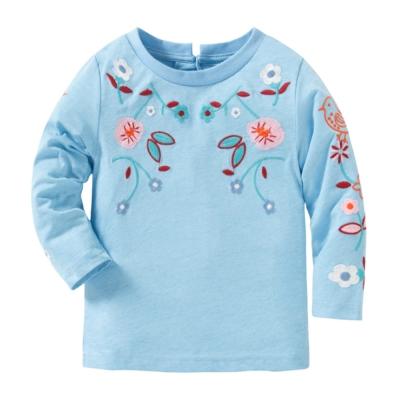 歐美風 女童 純棉長袖T恤-民族藍