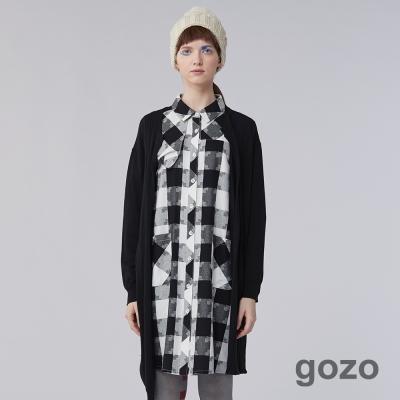gozo 俐落個性百褶壓紋線條不對稱長版開襟針織外套 (二色)