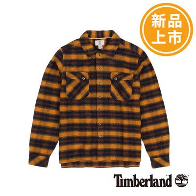 Timberland-男款藍橘色絨面粗條紋長袖襯衫
