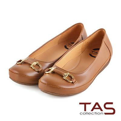 TAS-太妃Q系列-復古金屬質感雙環扣裝飾娃娃鞋-深卡其
