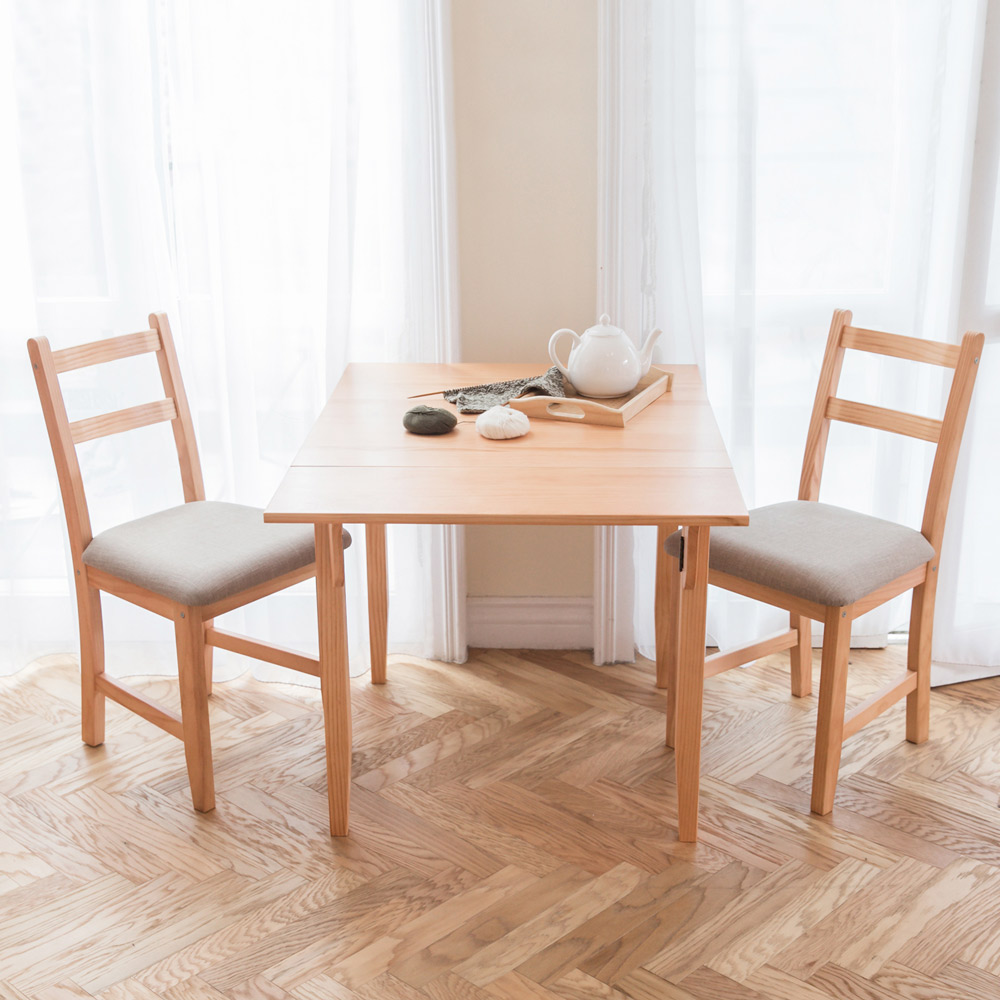 CiS自然行實木家具- 北歐單邊延伸實木餐桌椅組一桌二椅 74*98公分/柚木+淺灰色椅墊