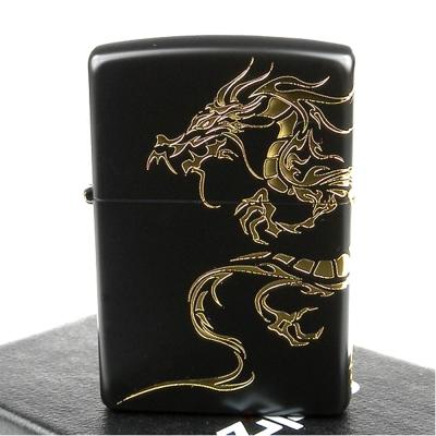 【ZIPPO】日系~Dragon-民族風龍圖騰-兩面連續加工打火機(黑金款)