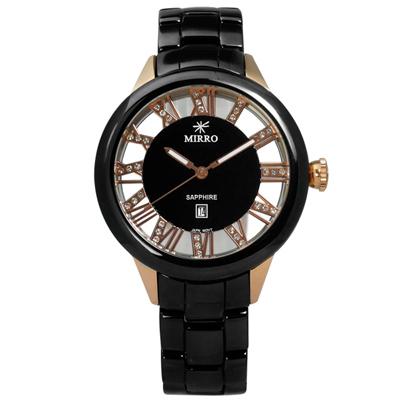MIRRO 米羅 動人旋律藍寶石水晶玻璃日期陶瓷手錶- 玫瑰金x黑/38mm