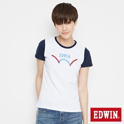 EDWIN 復古趣味配色短袖T恤-女-白色