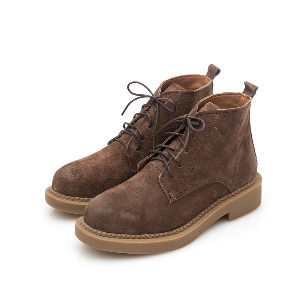 JMS-休閒俏麗擦色真皮綁帶短踝靴-咖啡色