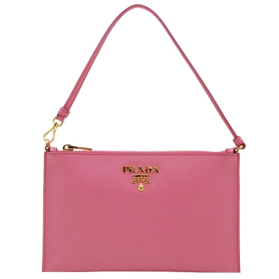 PRADA 經典立體LOGO防刮皮革肩背/手提包(粉紅色)