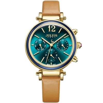 JULIUS聚利時 LADY FIRST三眼設計皮錶帶腕錶-孔雀綠/34mm